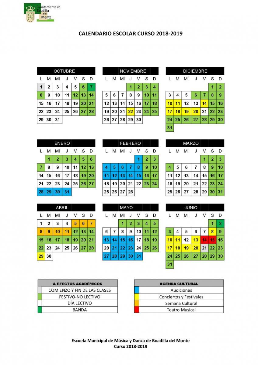 Calendario Fin De Semana 2019.Calendario Escolar Ayuntamiento De Boadilla Del Monte